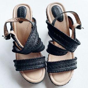 Fossil Black Strappy Block Heel Sandals Sz 7